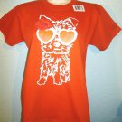 ANVIL - I LOVE PUPPIES - ORANGE - WHITE - GLITTER - T-SHIRT - LARGE - NEW - DOGS