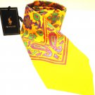 RALPH LAUREN - POLO - RL - CHOPPA - YELLOW - PAISLEY - SILK - TIE - NEW - ITALY
