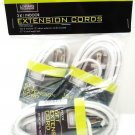 LIVING SOLUTIONS - 3 PACK - WHITE - INDOOR - EXTENSION - CORDS - NEW - 27 FEET