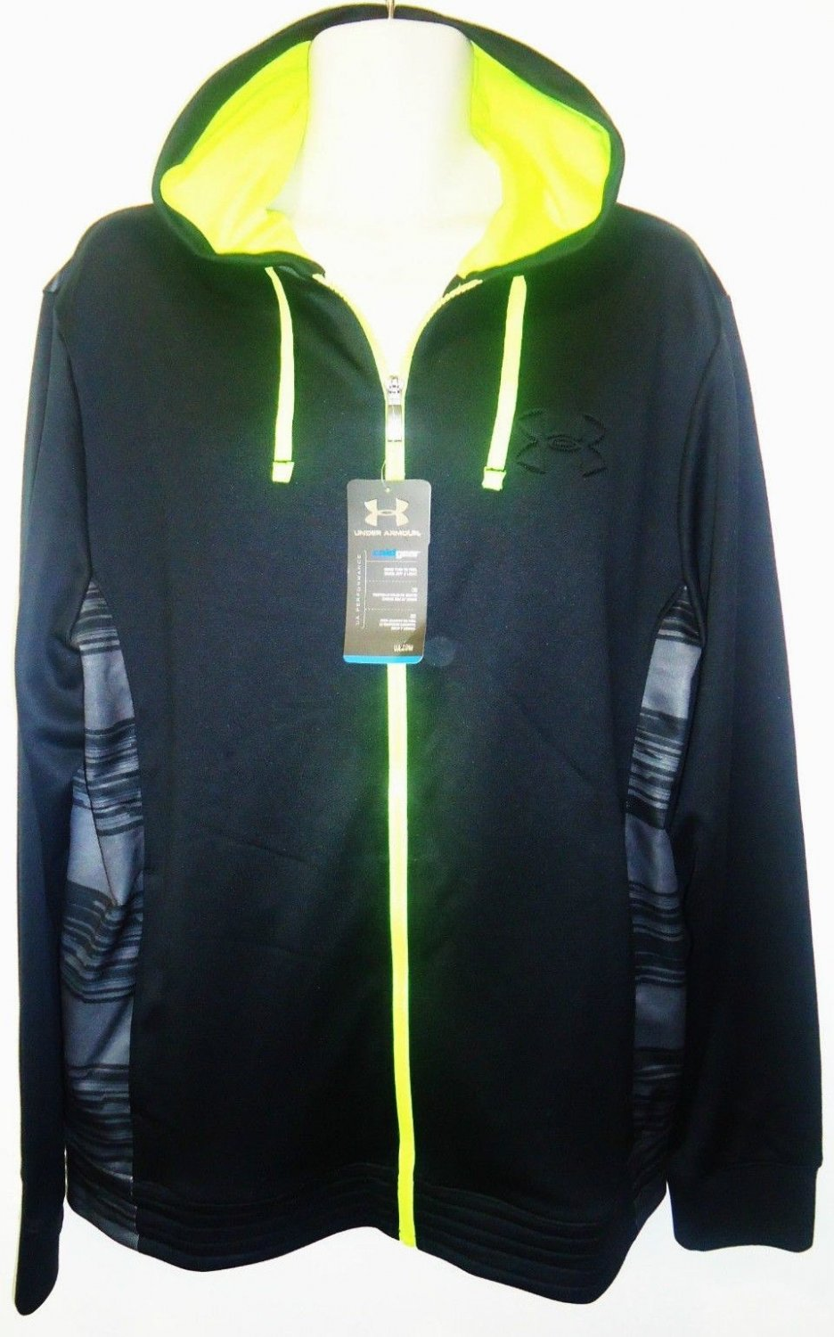 UNDER ARMOUR - COLD GEAR - HOODIE - BLACK - LIME - LARGE - TRACK - JACKET - NEW