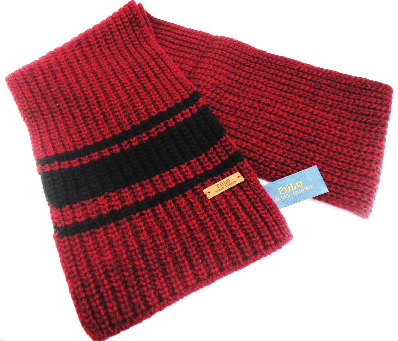 RALPH LAUREN - POLO - STRIPED - MERINO - WOOL - WINTER - SCARF - NEW - BURGUNDY