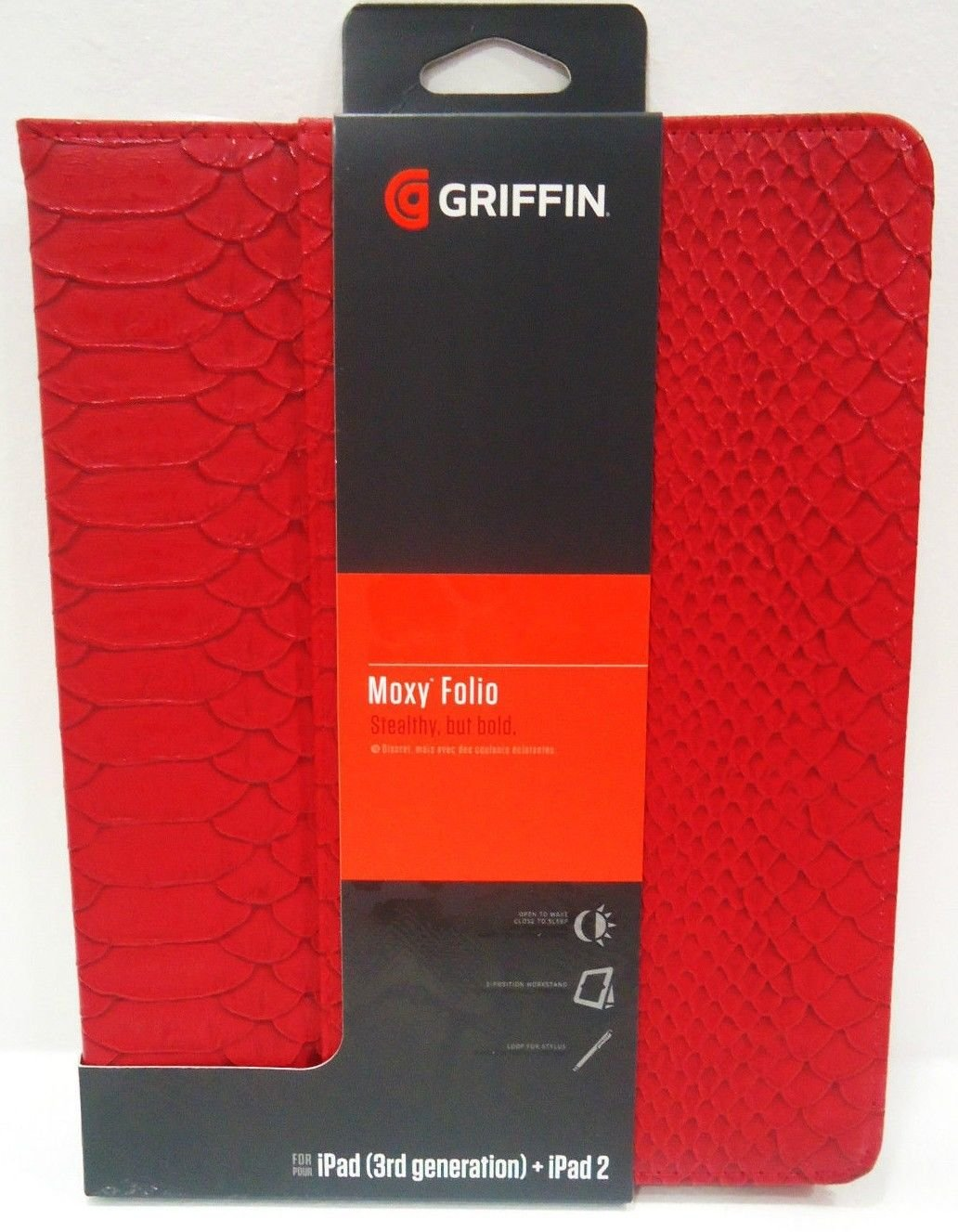 GRIFFIN - iPAD - 2 - 3RD GENERATION - RED - SNAKESKIN - FOLIO - CASE - BRAND NEW