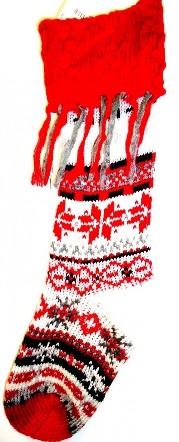 "AEROPOSTALE - 26"" - CHRISTMAS - SWEATER - KNIT - RED - WHITE - STOCKING - NEW"