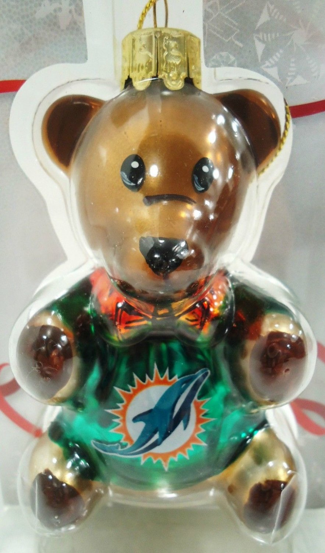 NFL - MIAMI DOLPHINS - CHRISTMAS - GLASS - TEDDY - BEAR - ORNAMENT - BRAND NEW