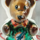 NFL - MIAMI DOLPHINS - CHRISTMAS - GLASS - TEDDY - BEAR - ORNAMENT - BRAND NEW