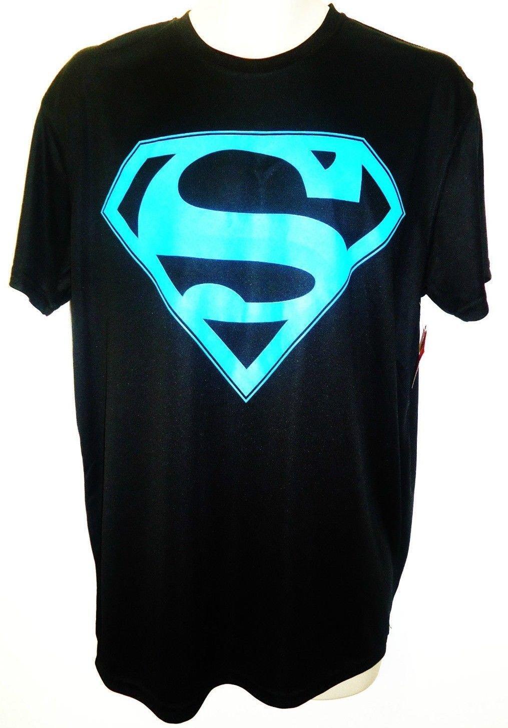 DC COMICS - SUPERMAN - BLACK - BLUE - MUSCLE - TEE - LARGE - BRAND NEW - BATMAN