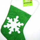 HOME ELEMENTS - CHRISTMAS - HOLIDAY - SNOWFLAKE - WHITE - GREEN - STOCKING - NEW