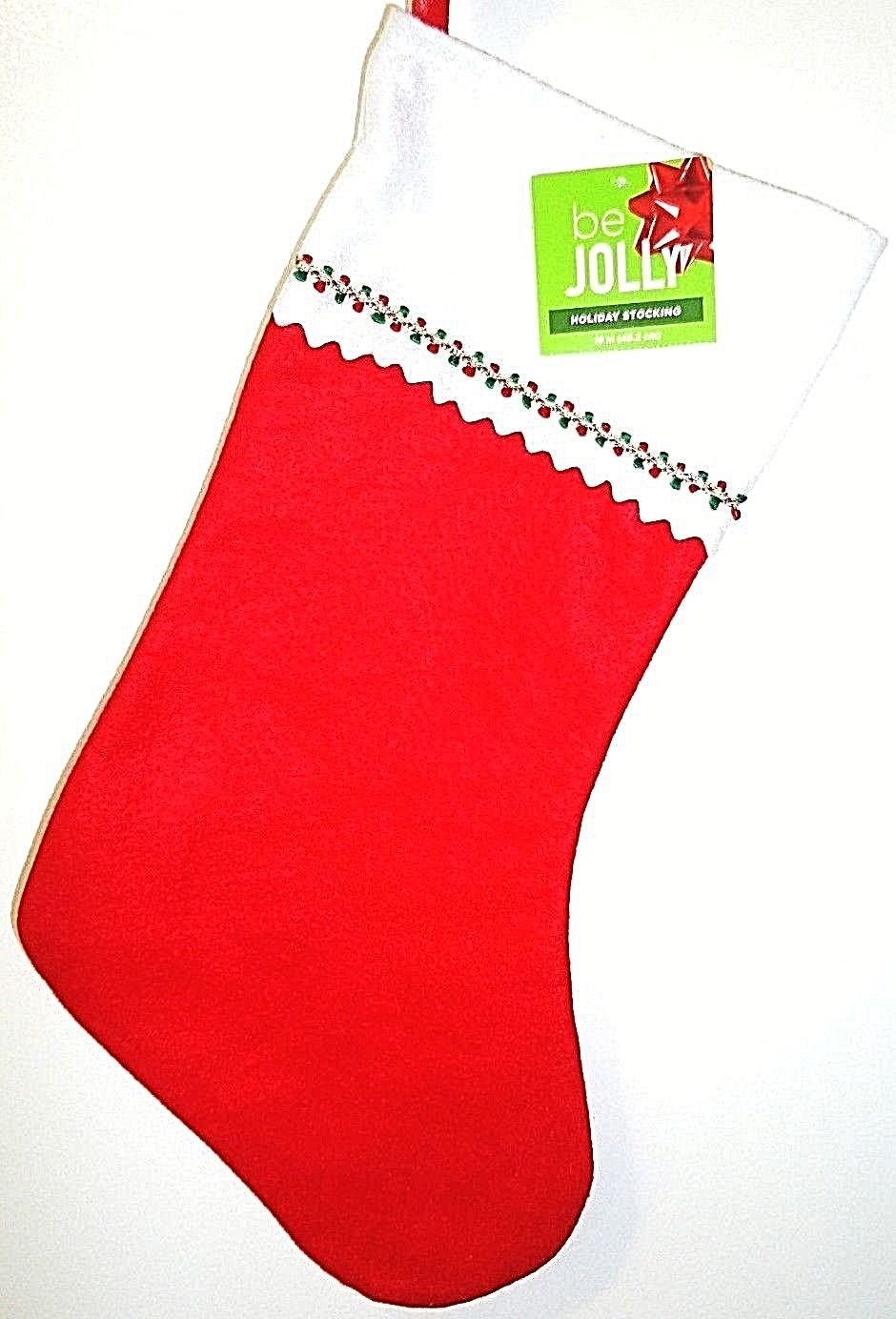 HOME ELEMENTS - CHRISTMAS - HOLIDAY - GARLAND - RED - WHITE - STOCKING - NEW