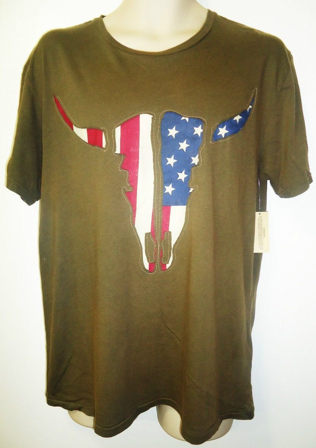 RALPH LAUREN - POLO - DSRL - TEXAS - LONGHORN - FLAG - ARMY - GREEN - TEE - NEW