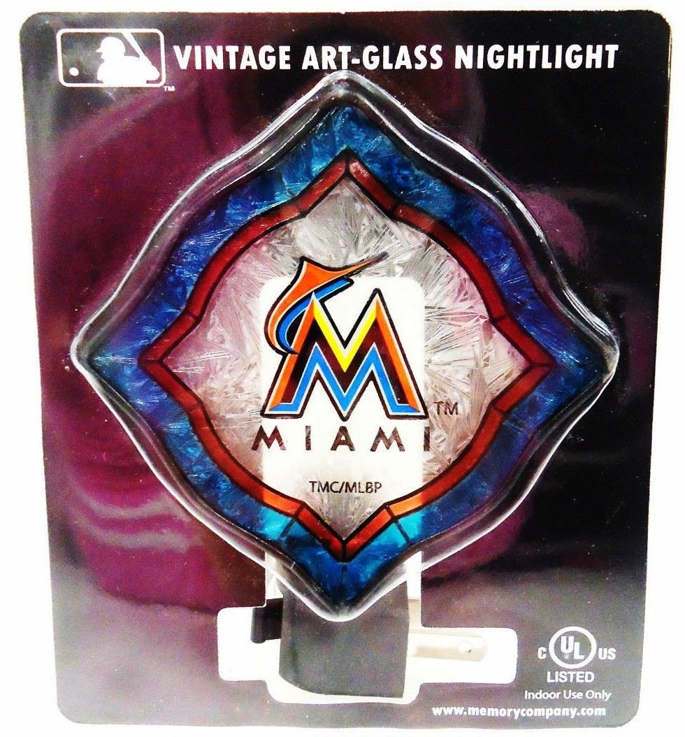 MIAMI - MARLINS - MLB - BASEBALL - VINTAGE - ART - GLASS - NIGHTLIGHT - NEW