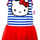 HELLO KITTY - KIDS - RED - WHITE - BLUE - GLITTER - DRESS - MEDIUM - 7/8 - NEW