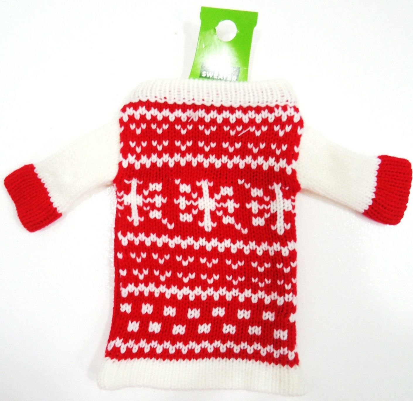 HOME ELEMENTS - WINE - BOTTLE - HOLIDAY - KNIT - RED - WHITE - SWEATER - NEW