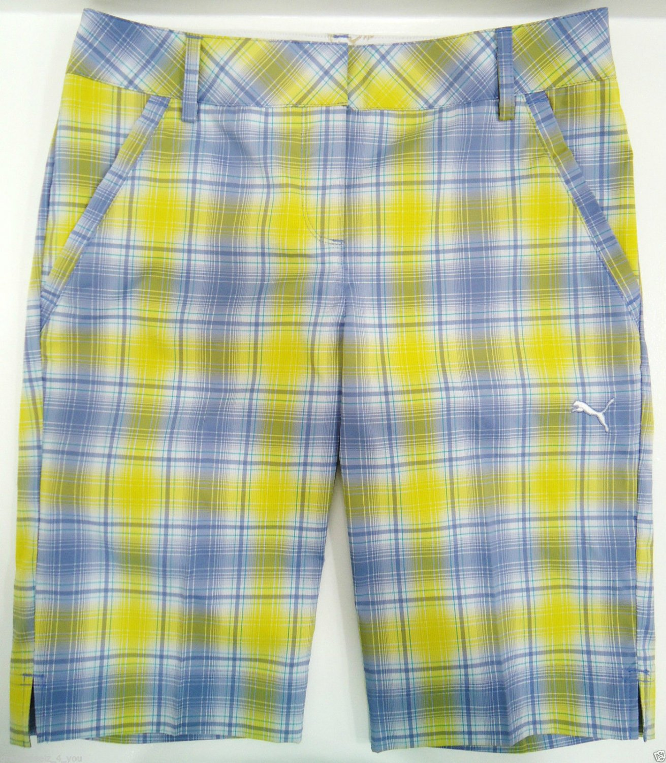 PUMA - SIZE 2 - DRY CELL - LIME - GRAY - PLAID - GOLF - SHORTS - LPGA - NEW