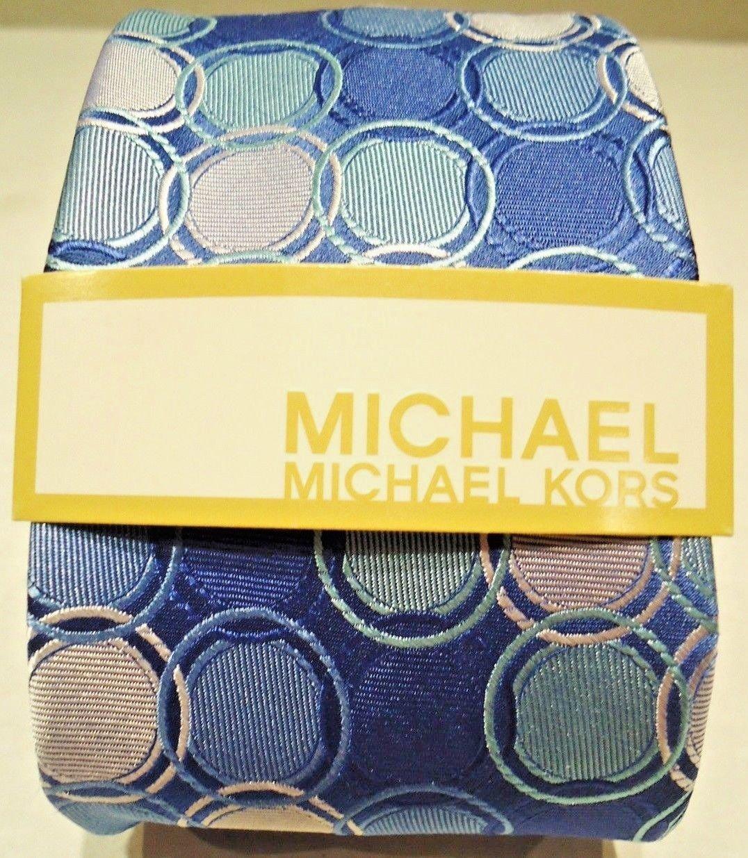 MICHAEL KORS - BLUE - AQUA - PURPLE - CIRCLES - SILK - TIE - NEW - ACCESSORIES