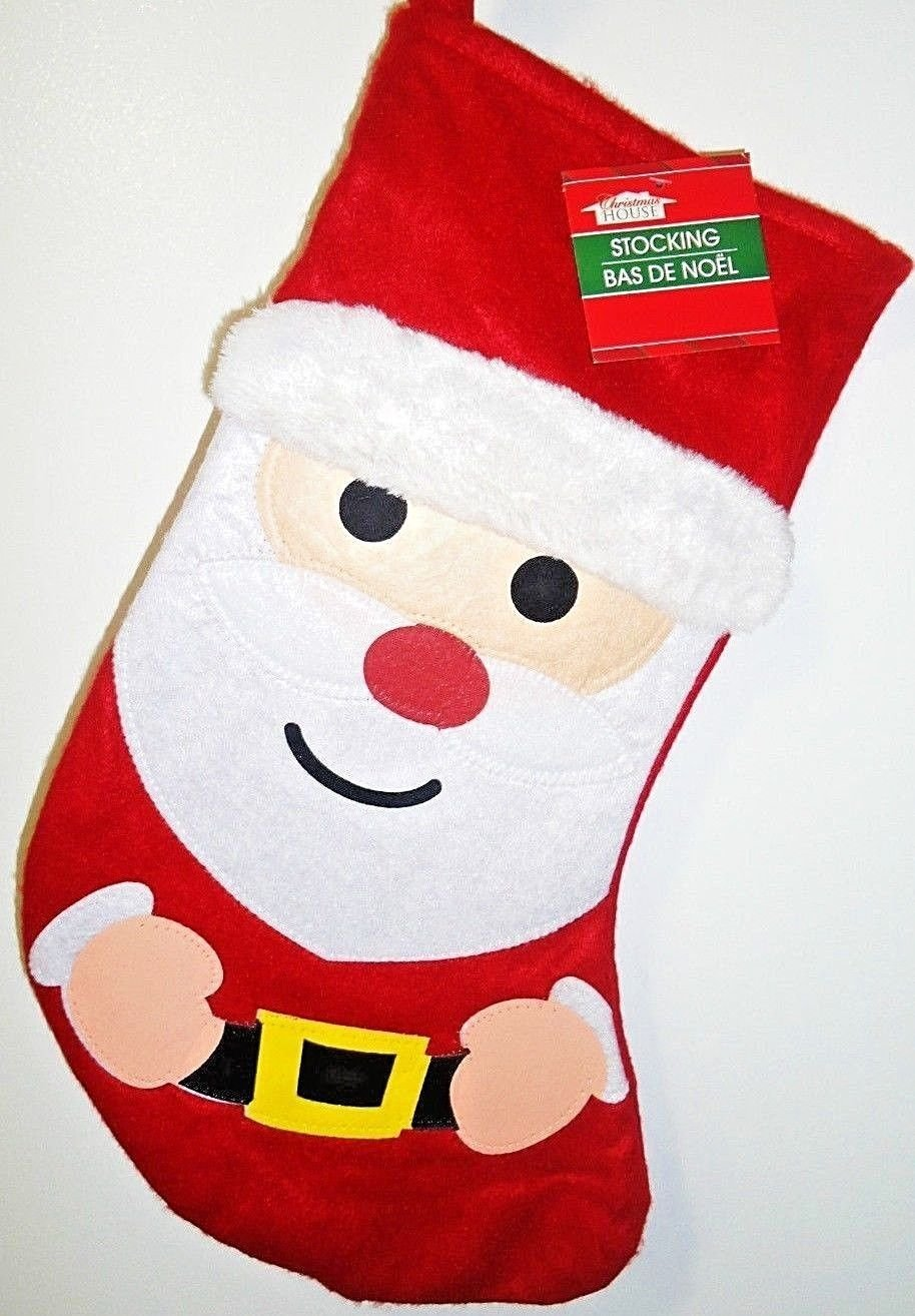 HOME ELEMENTS - CHRISTMAS - HOLIDAY - SANTA CLAUS - RED - WHITE - STOCKING - NEW