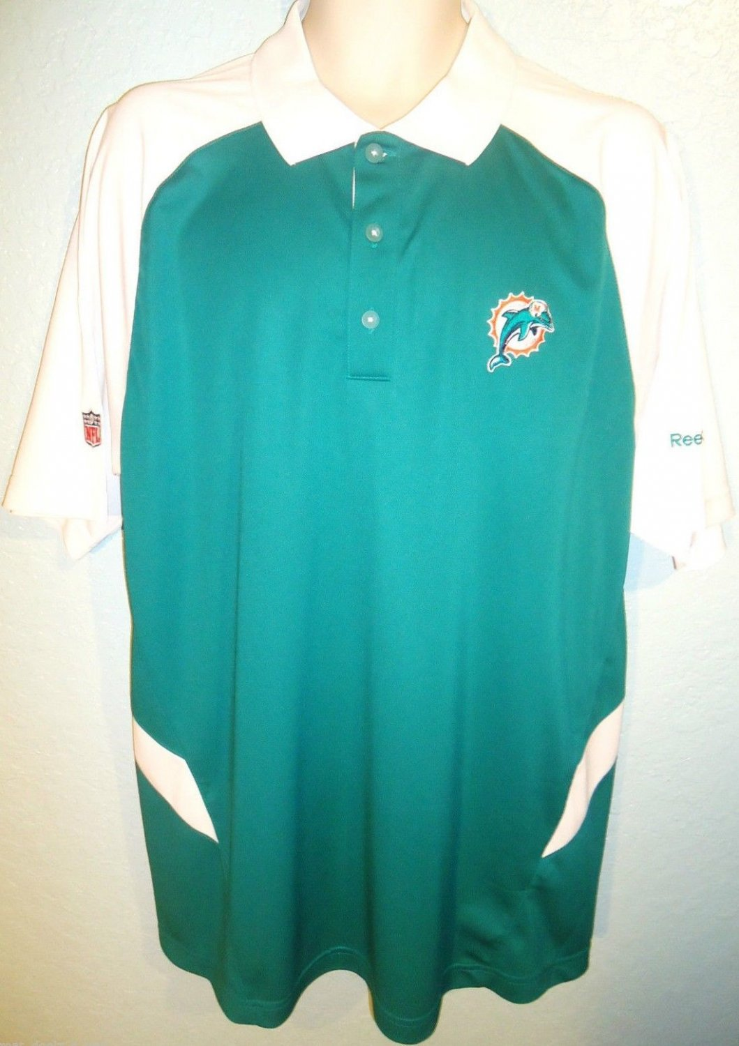REEBOK - NFL - MIAMI DOLPHINS - FOOTBALL - AFC - WHITE - AQUA - POLO - L - NEW