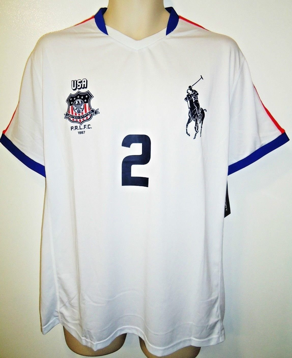 RALPH LAUREN - RLX - SOCCER - JERSEY - BIG PONY - WHITE - BLUE - LARGE - NEW