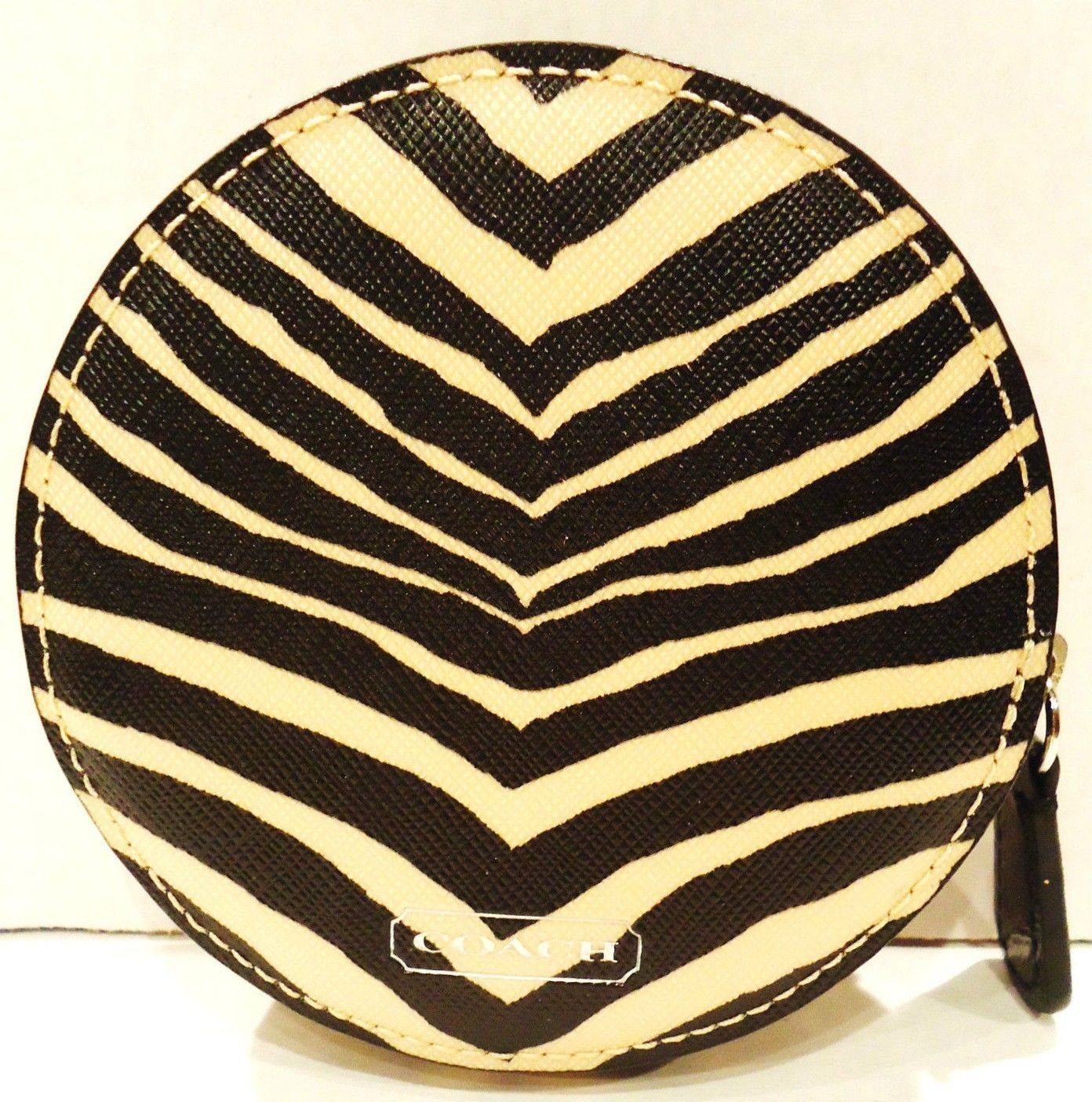 COACH - ANIMAL - ZEBRA - PRINT - KHAKI - BLACK - COIN - PURSE - BRAND NEW - NWT
