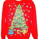 GILDAN - UGLY - CHRISTMAS - TREE - SWEATSHIRT - RED - GREEN - L - NEW - SWEATER