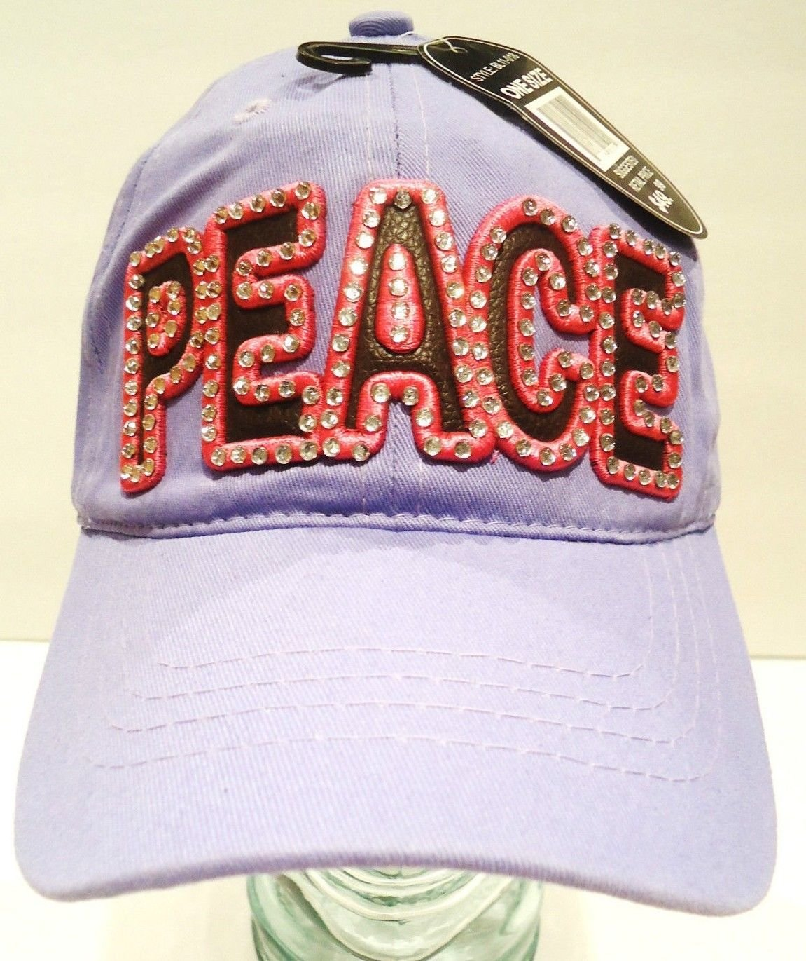LUCKY - 777 - PEACE - RHINESTONE - LEATHER - LAVENDER - PINK - CAP - HAT - NEW