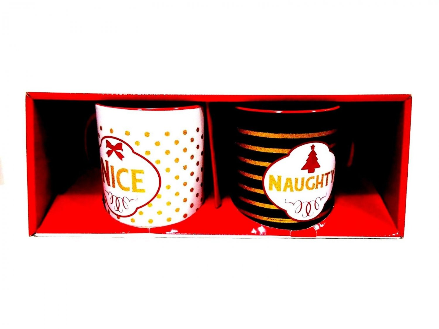 CHRISTMAS - HOLIDAY - NAUGHTY - NICE - 2 PIECE - COFFEE - MUG - CUP - SET - NEW