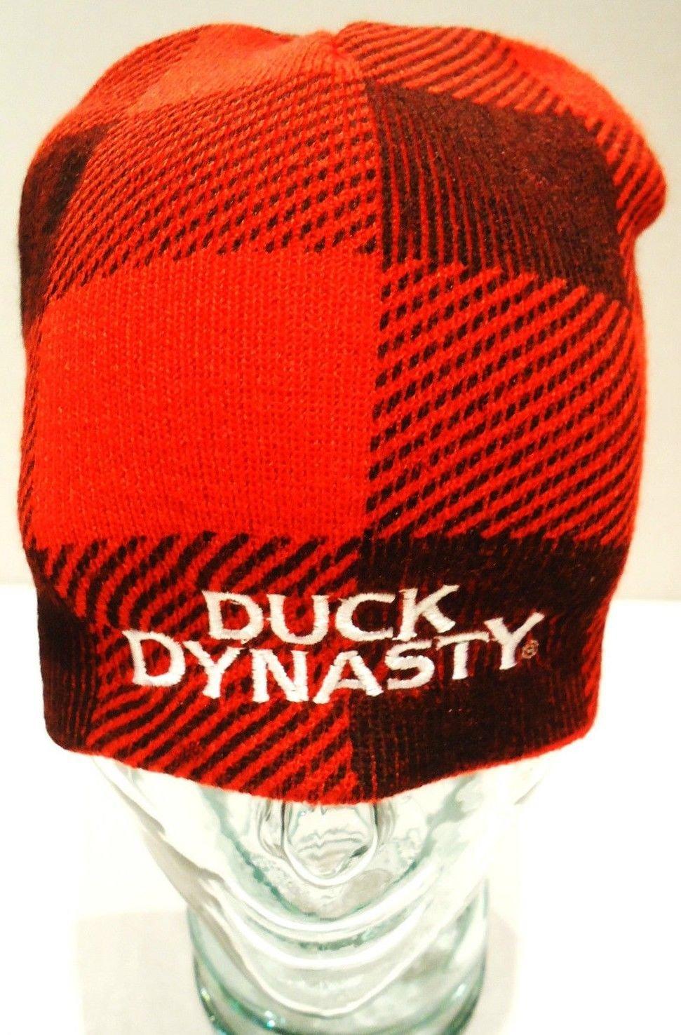 DUCK DYNASTY - PLAID - RED - BLACK - SKULL - SKI - BEANIE - CAP - HAT - NEW