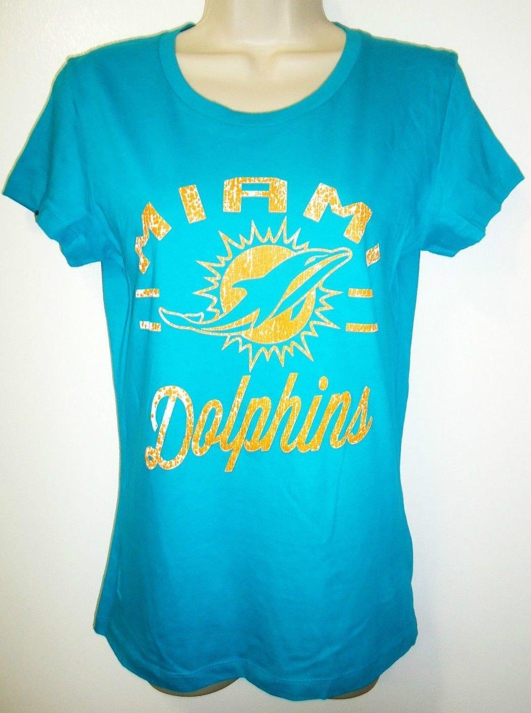 MAJESTIC - MIAMI - DOLPHINS - NFL - TEAM - T-SHIRT - NEW - ORANGE - AQUA - M