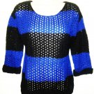 MACY'S - PINK ROSE - BLUE - BLACK - KNIT - CUFF - SWEATER - LARGE - BRAND NEW