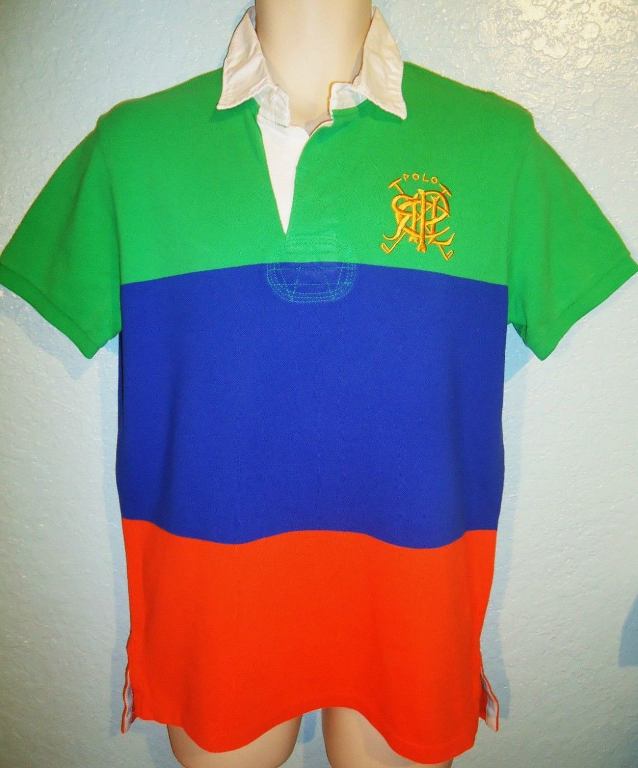 RALPH LAUREN - XL - GREEN - BLUE - RUGBY - POLO - SHIRT - NEW - CUSTOM FIT - RRL