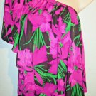 MICHAEL KORS - FLORAL - FASHION - BLOUSE - PINK - BLACK - GREEN - SMALL - NEW