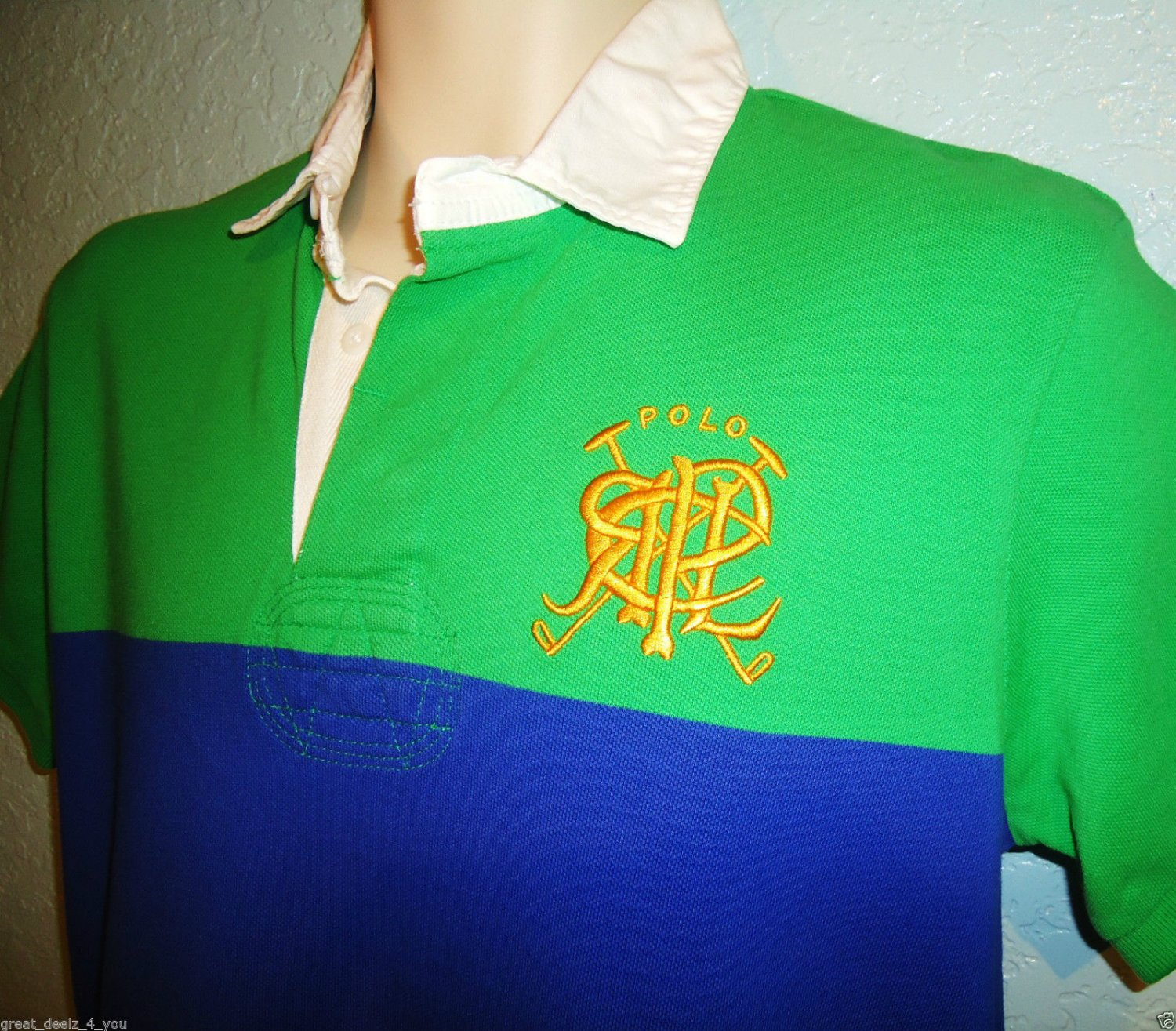 RALPH LAUREN - M - GREEN - BLUE - RUGBY - POLO - SHIRT - NEW - CUSTOM FIT - RRL