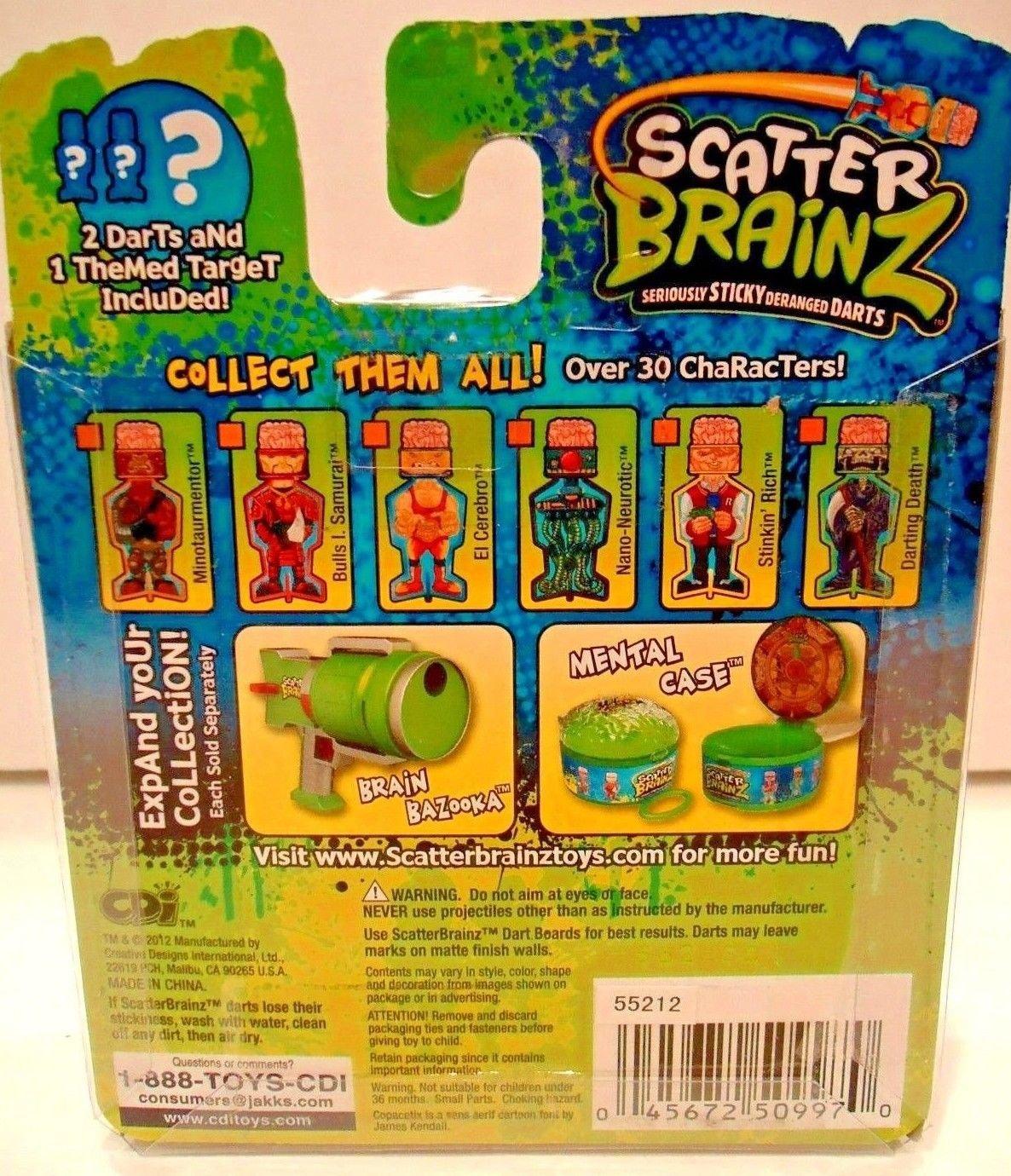 SCATTER BRAINZ - SERIES 1 - DARTS -  2 DARTS & TARGET PACK - NEW - NERF - GUN