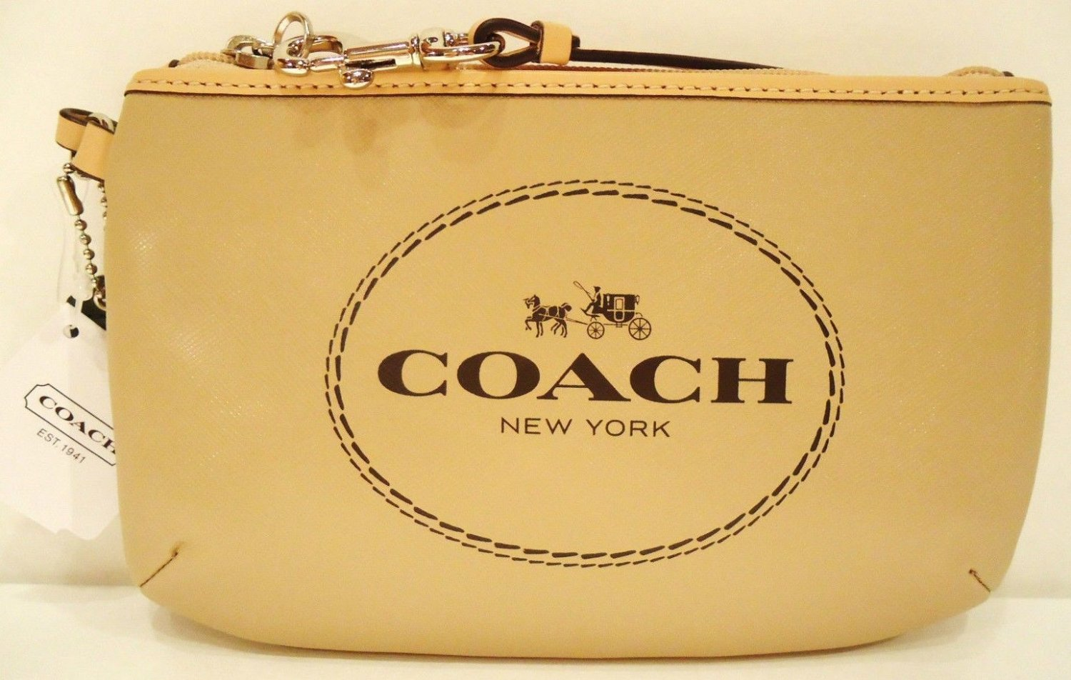 COACH - HORSE - CARRIAGE - KHAKI - LEATHER - WRISTLET - PURSE - BRAND NEW