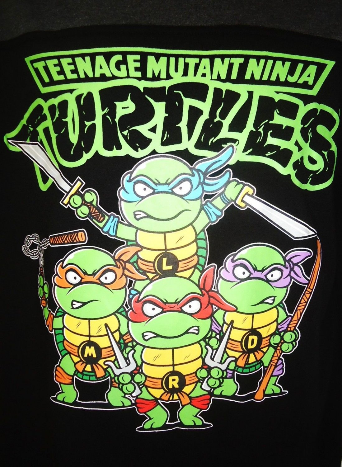 TEENAGE MUTANT NINJA TURTLES - BLACK - GREY - RETRO - MEDIUM - T-SHIRT - NEW