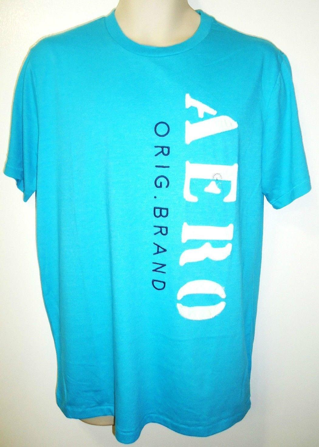 AREOPOSTALE - AQUA - BLUE - WHITE - LARGE - AERO - BRAND - T-SHIRT - NEW - TEE
