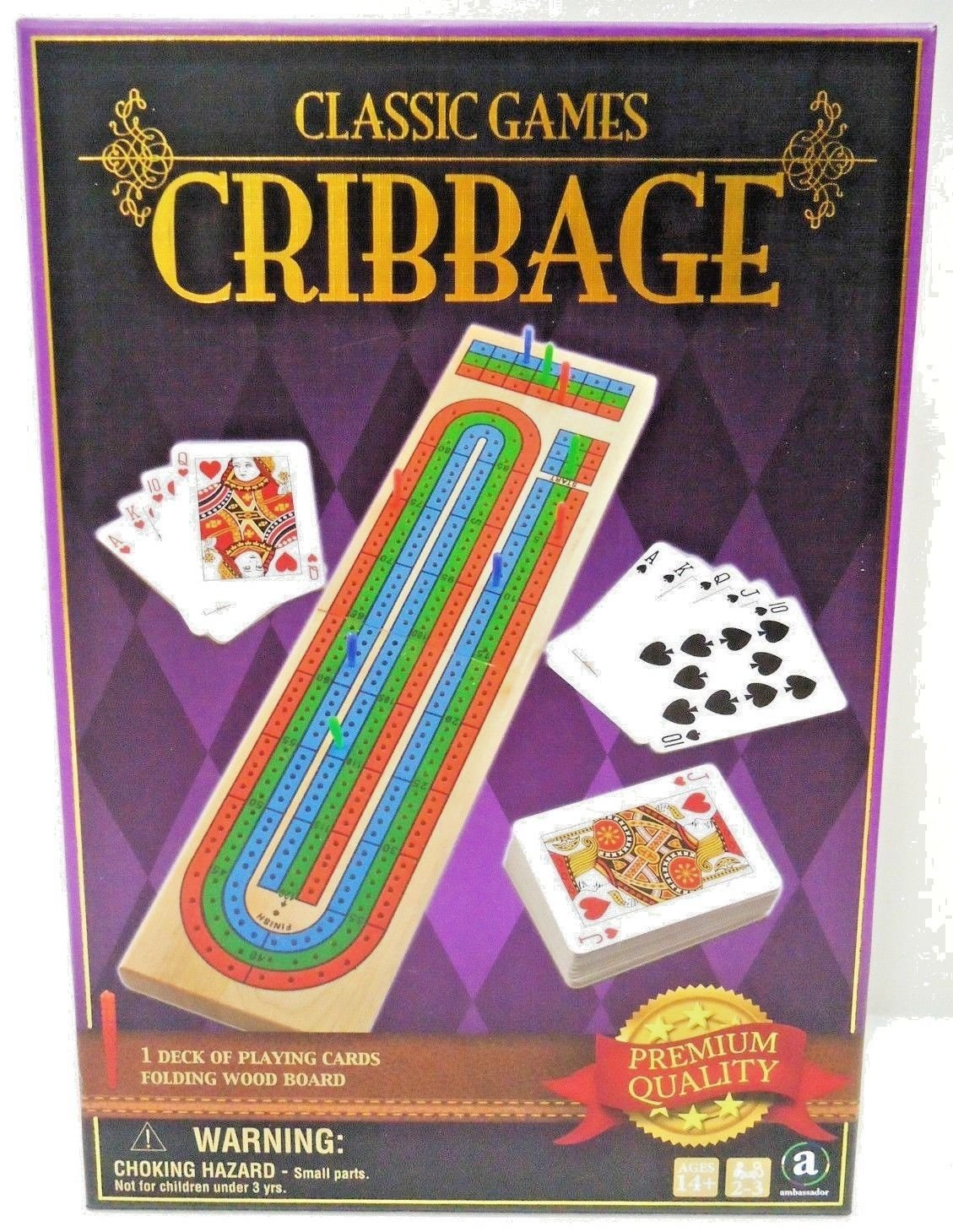 CLASSIC GAMES - CRIBBAGE - CARD - WOOD - BOARD - GAME - BRAND NEW - SEALED