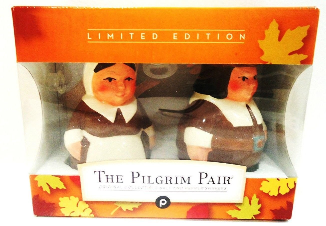 PUBLIX - COLLECTIBLE - PILGRIM PAIR - CERAMIC - SALT & PEPPER - SHAKERS - NEW