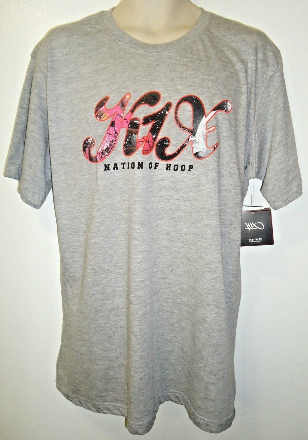 K1X - NATION OF HOOP - STREET - BASKETBALL - TEE - LARGE - NEW - GRAY - T-SHIRT