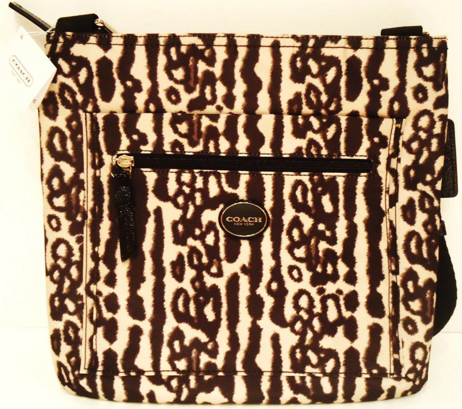 COACH - ANIMAL - PRINT - OCELOT - BLACK - FILE - BAG - PURSE - LEOPARD - NEW