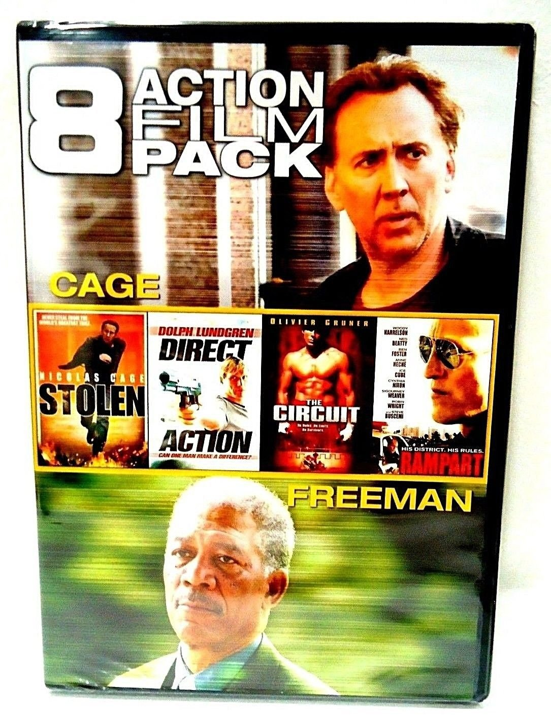 8 ACTION FILM PACK - DVD - CAGE - FREEMAN - STALLONE - BRAND NEW -  2-DISC SET