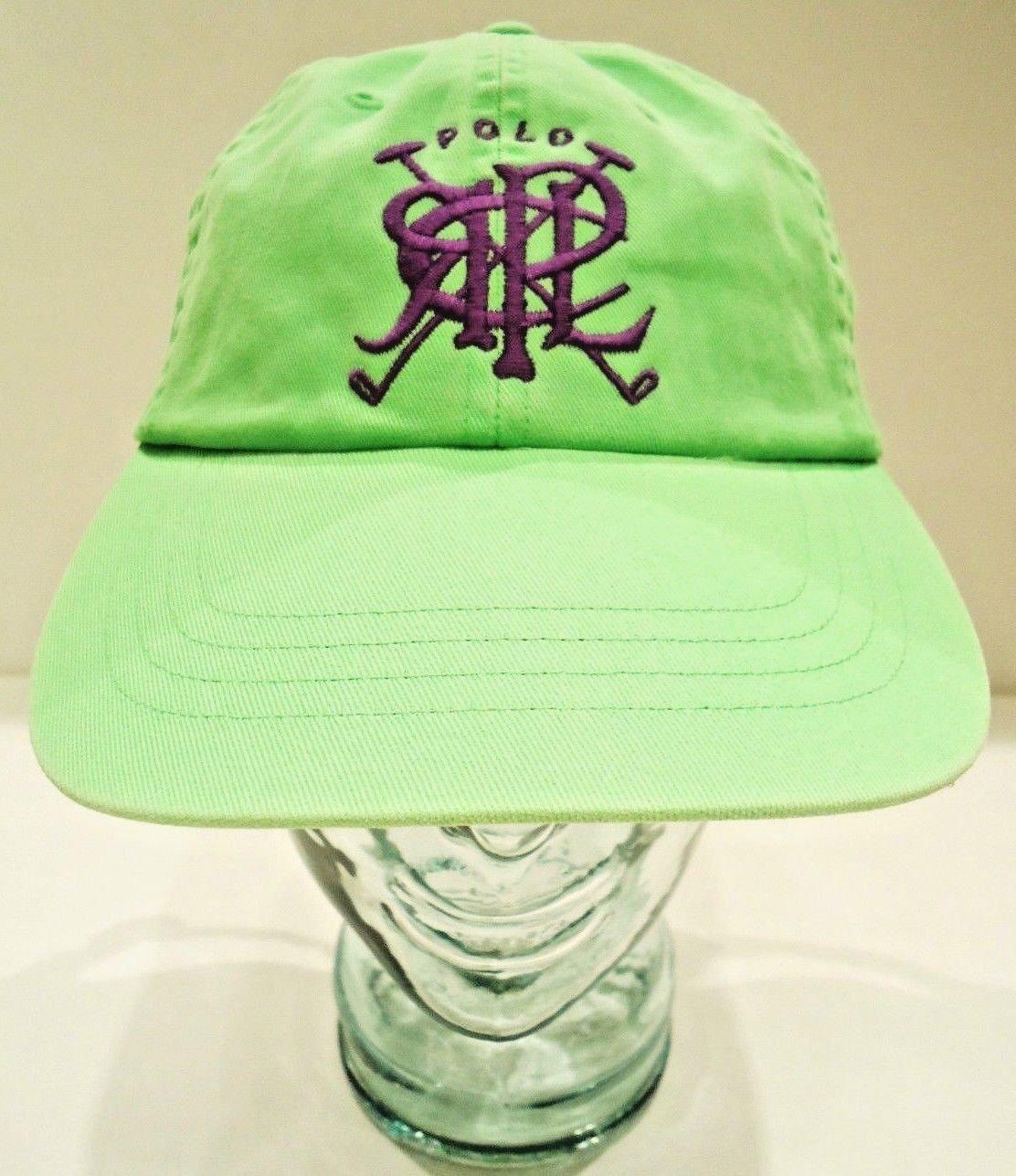 RALPH LAUREN - POLO - CROSSED - MALLETS - HAT - CAP - LIME - GREEN - RRL - NEW