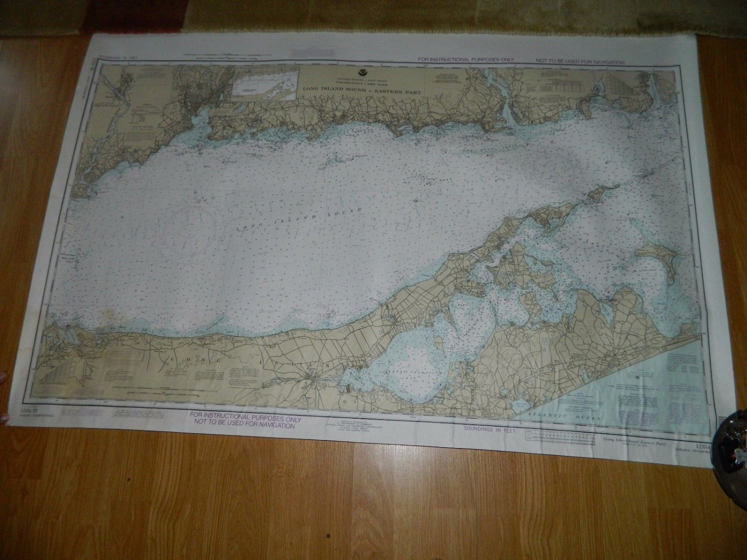 "NOAA Sounding Map - Long Island Sound - 1992  - Nautical - Large 48x32"" - #12354"