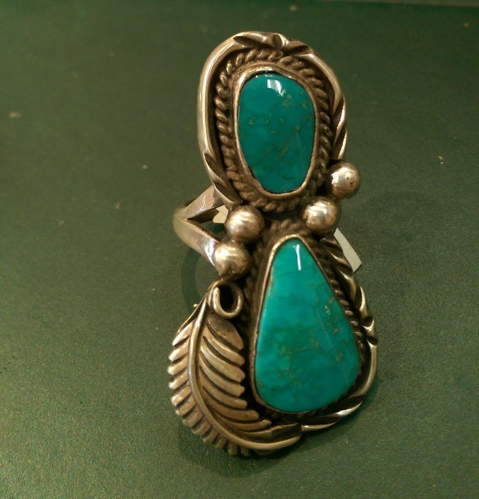 Sterling Silver Turquoise Two Stones with Feather Ring