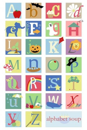 alphabet soup - 12x18 print