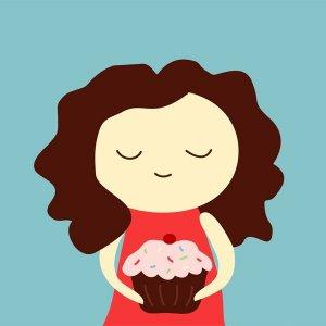 cupcake - girl - 8x8 print