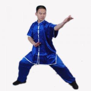 2.2.3.190 Blue wushu / tai ji satin shortsleeve uniform