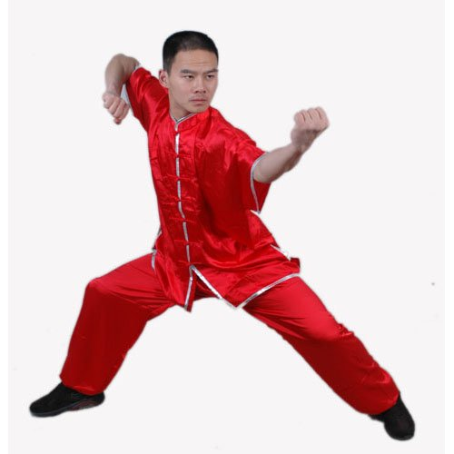 2.2.4.200 Red wushu / tai ji satin shortsleeve uniform