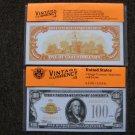 $100 Gold Certificate 1934 UNC Crisp Reproduction New Sealed Retail Dollar Bill (Medium)