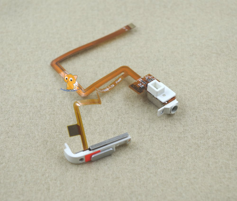 White Headphone Audio Jack Hold Switch Flex Ribbon Cable for iPod 5th gen Video 60GB 80GB