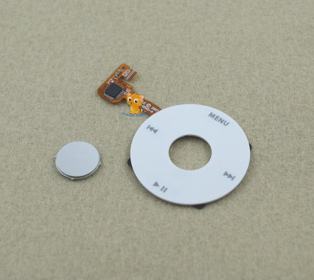 White Clickwheel + Silver Central Middle Button for iPod 6th 7th gen Classic 80GB 120GB 160GB